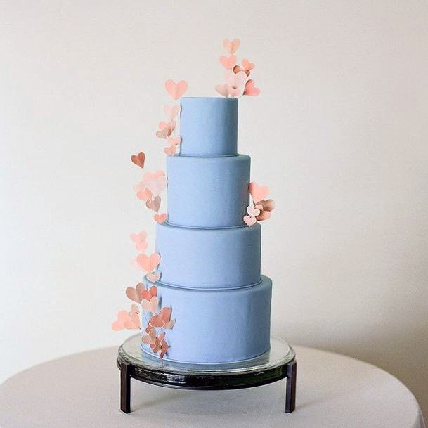 Milky Blue Wedding Cake With Pink Flowers