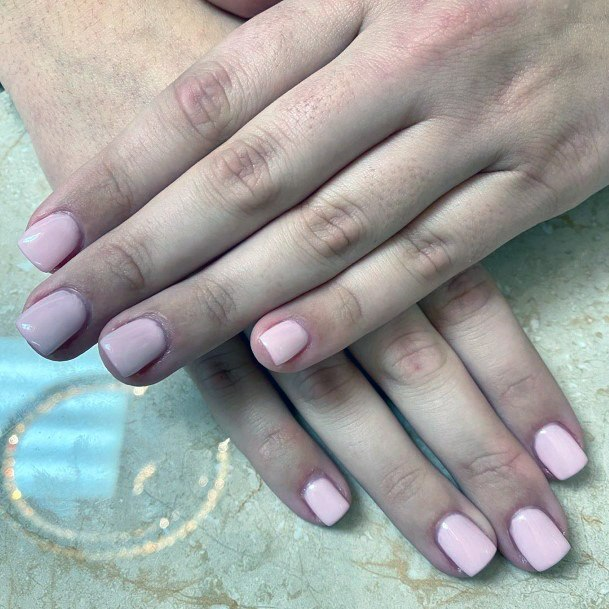 Milky Pink Short Nails Women