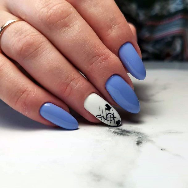 Milky White Almond Shellac Nails With White And Black Accent For Women