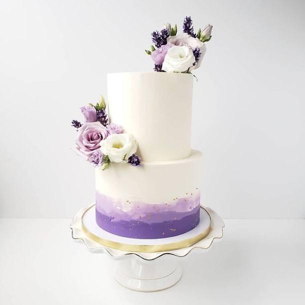 Milky White And Purple Wedding Cake