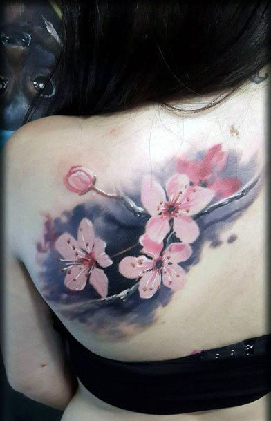 Mind Blowing Tattoo Cherry Blossom Womens Back