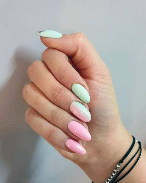 Mint And Pink Dual Colored Nails Women