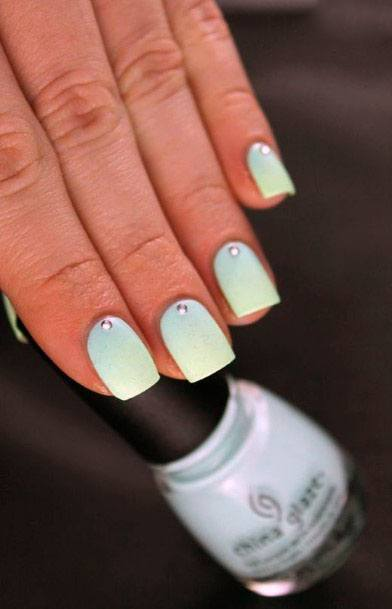 Mint Gradient Nails With Stone For Women