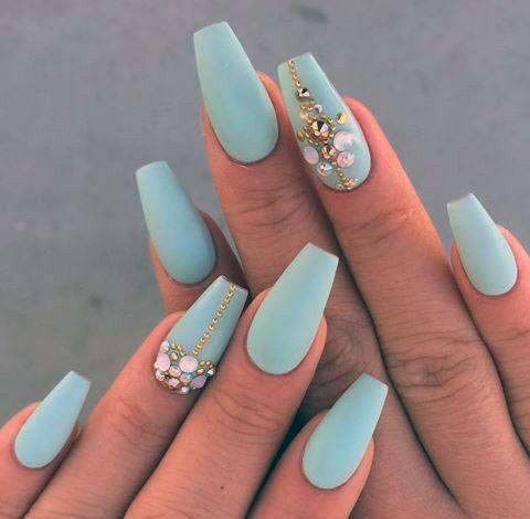 Mint Matte Nails With Rhinestones Women