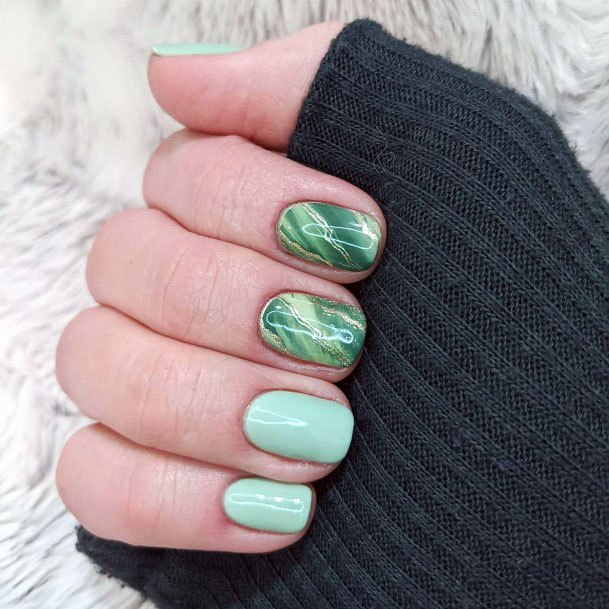 Mint Nails Marble Art For Women