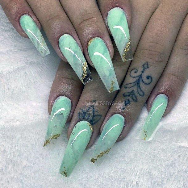 Mint Nails With Gold Foil Coffin Shape Women