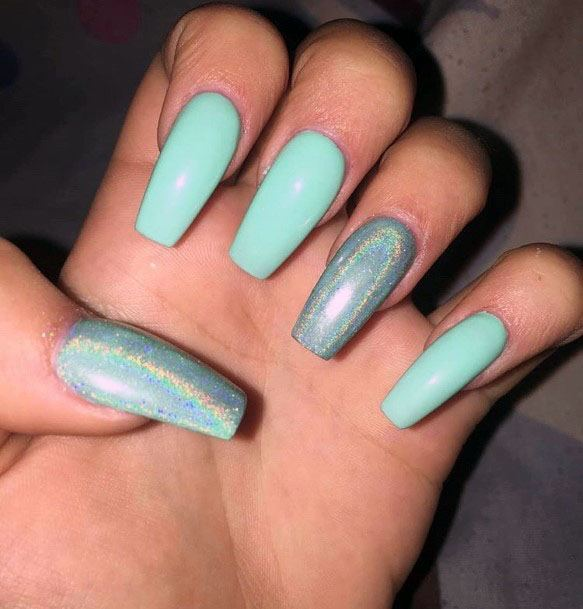 Mint Nails With Hologram Effect Women