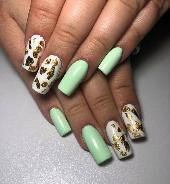 Mint Nails With Leopard Print For Women