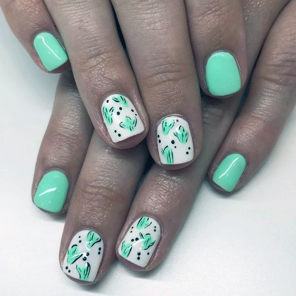 Minty Green Cactus Nails Women