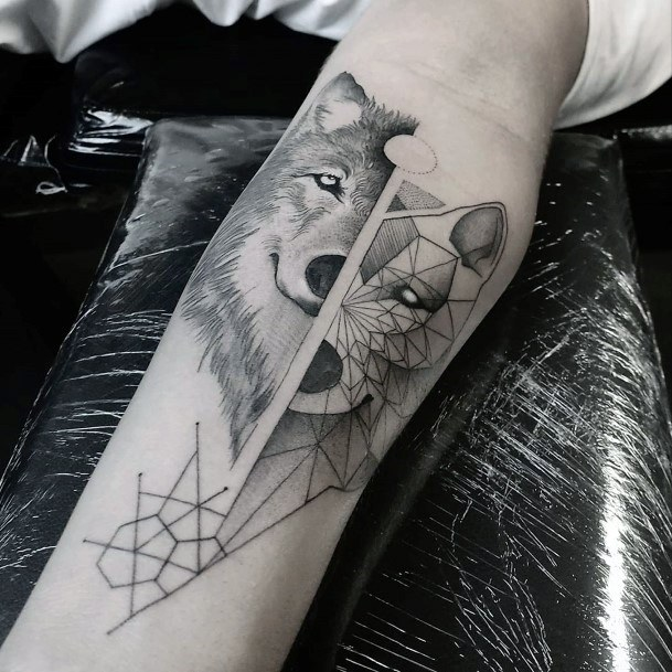 Mirror Image Fox Geometric Tattoo Womens Wrists