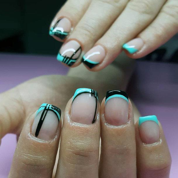 Mod Mint And Black Nails Women