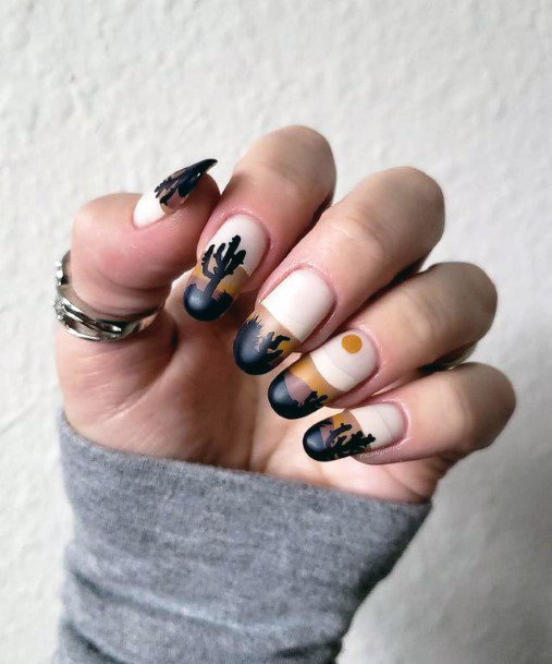 Modern Art Cactus Nails Women