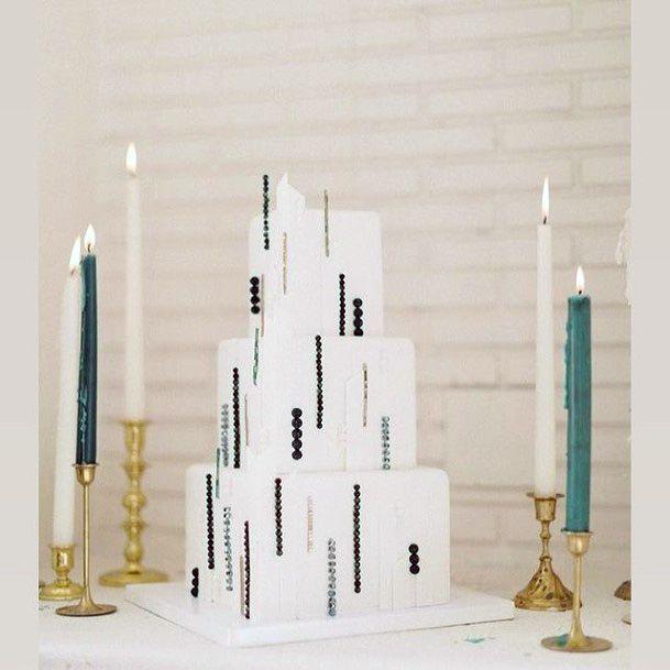 Modern Art Square White Wedding Cake