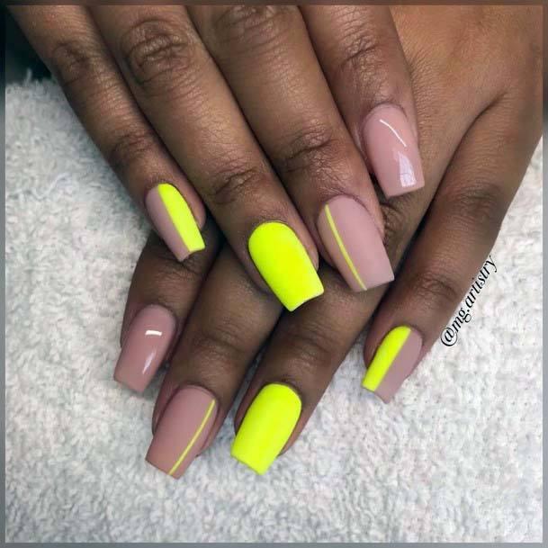 Modern Design Bright Neon Yellow Nails For Women