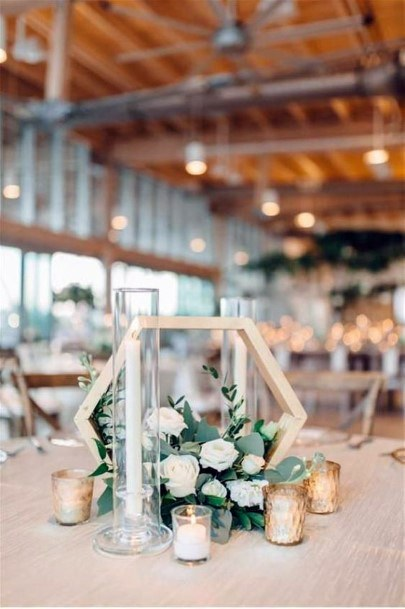Modern Geometric Decor With Candles Wedding Centerpiece Ideas