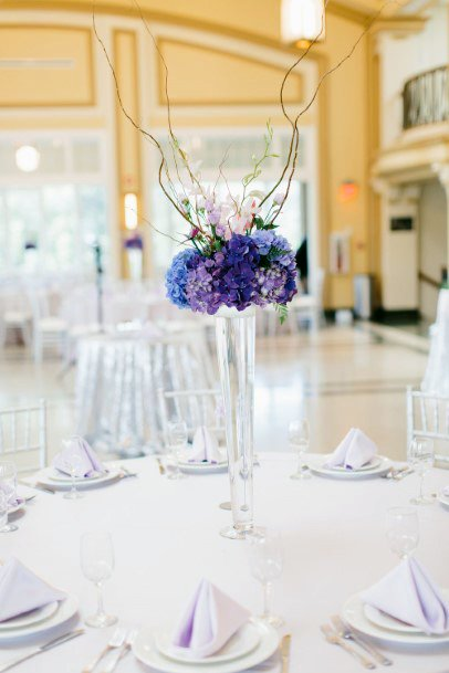 Modern Glass Vase Lavender Flowers Wedding