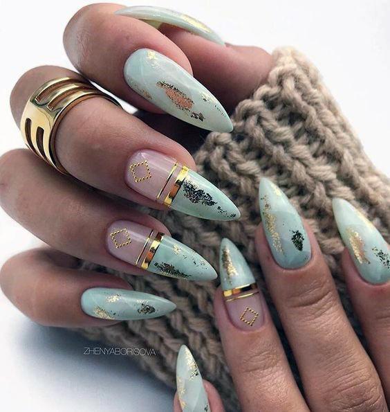 Modern Nail Art Women Green And Gold Art