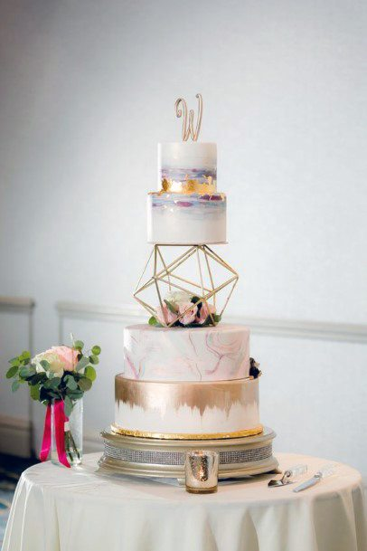 Modern White And Gold Cake With Geometric Stand Wedding Cake Ideas