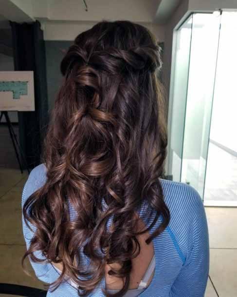 Molten Brown Cascading Swirls Hairstyle Women