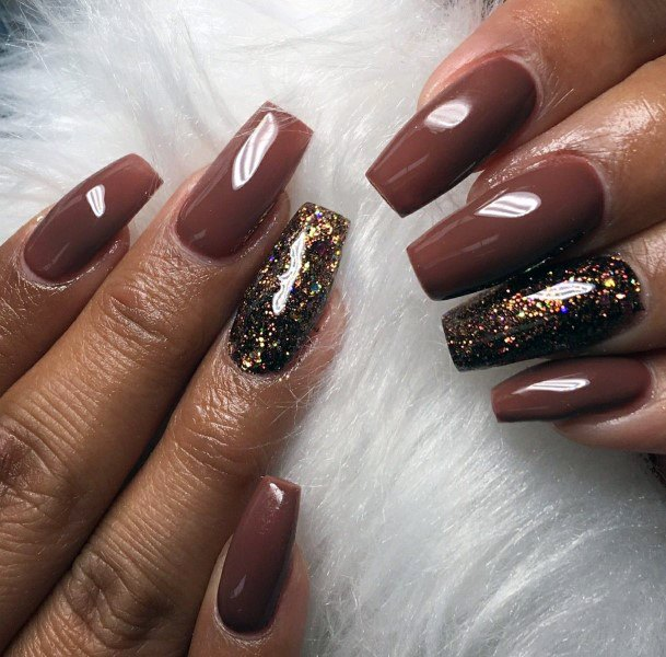 Molten Chocolate Brown Nails With Glitter Accent Women