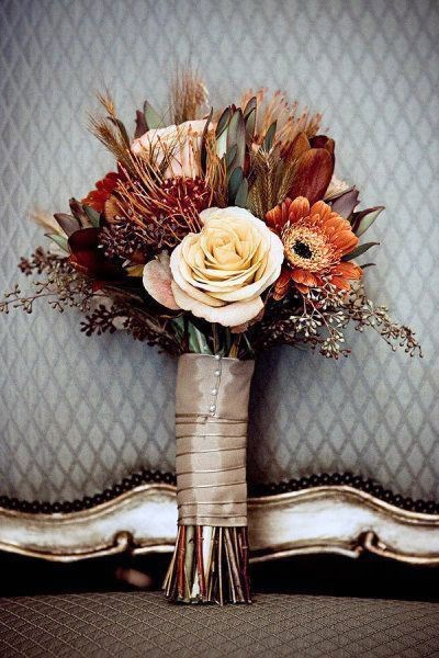 Moody Brown Cream And Orange Bouquet Rustic Wedding Ideas