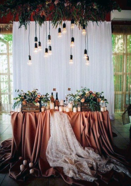 Moody Rust Table Linen With Backlights Sweetheart Table Decor Fall Wedding Ideas