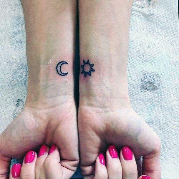 Moon And Sun Womens Tattoo Wrist
