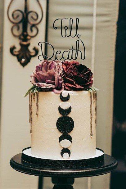 Moon Phases Halloween Wedding Cake