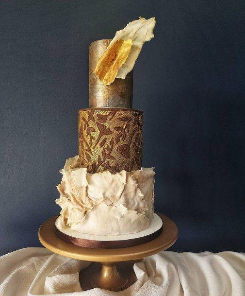 Most Yum Chocolate Wedding Cake With Golden Design
