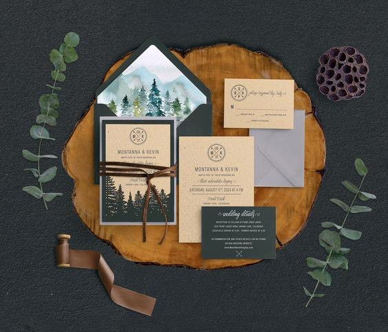 Mountain And Woods Invitation Suite Rustic Wedding Ideas