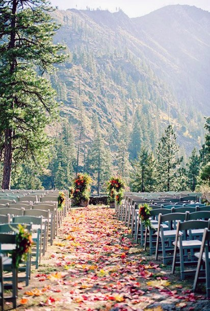 Mountain Ceremony Fall Leaves Decor Fall Wedding Ideas