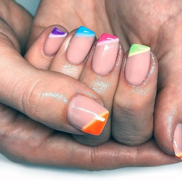 Multi Colored Angled Tips Nails