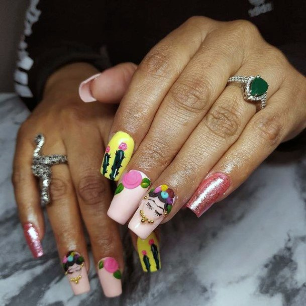 Multi Colored Cactus Nails Women