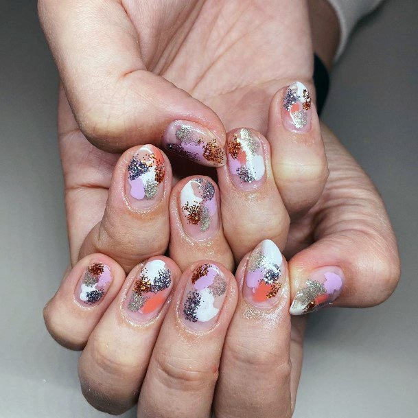 Multi Colored Splodge Nail Design