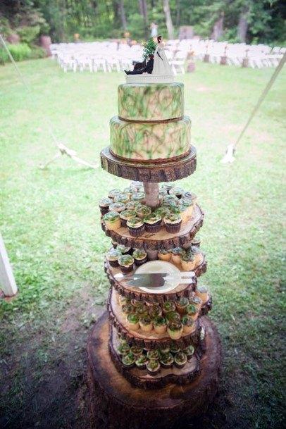 Multi Level Camo Wedding Cake