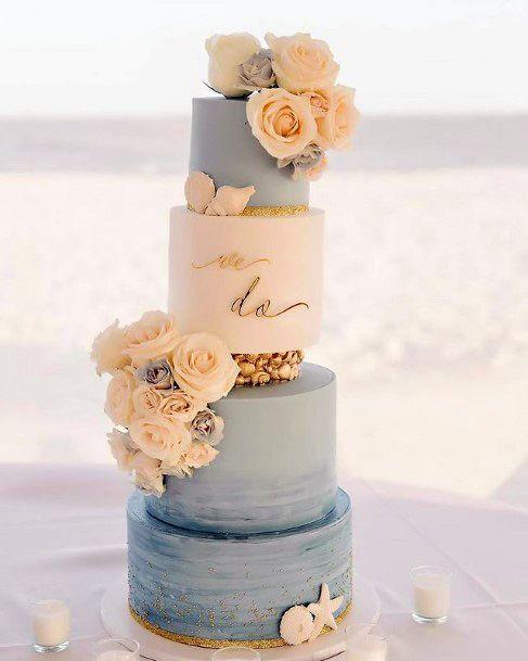 Multiple Layered Beach Wedding Cake Floral Women
