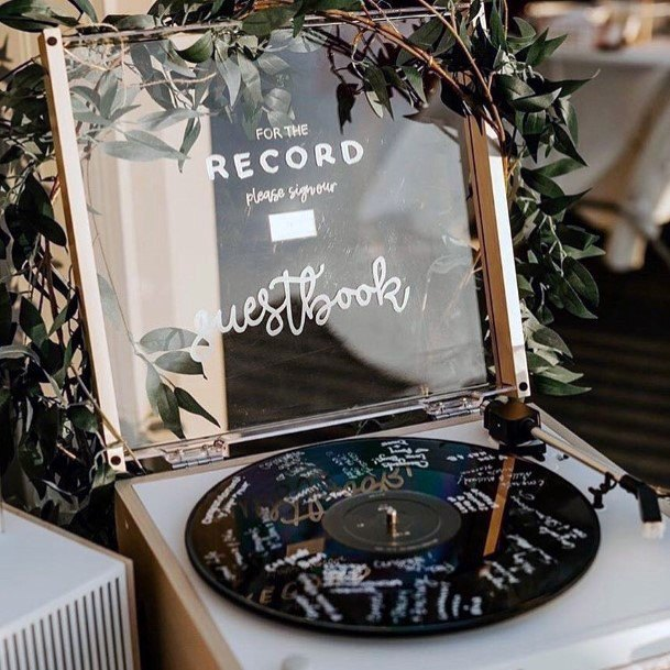 Musical Retro Record Wedding Guest Book Ideas