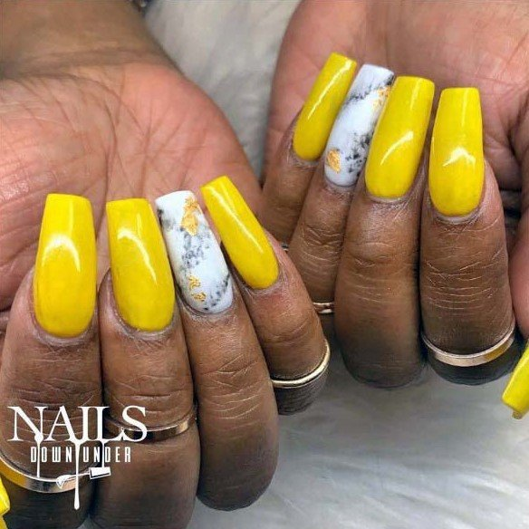 Mustard Yellow Bright Nails For Women