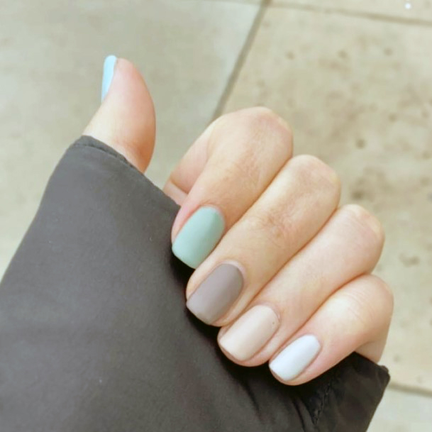 Muted Pastels On Nails