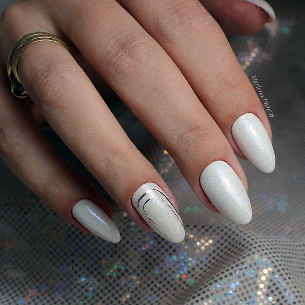 Muted White Gel Nails Women
