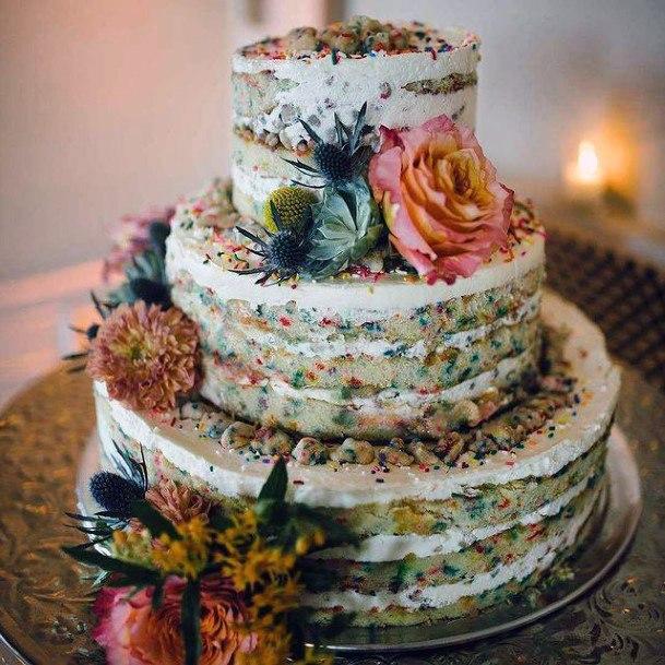 Mutli Colored Confetti Unique Wedding Cake