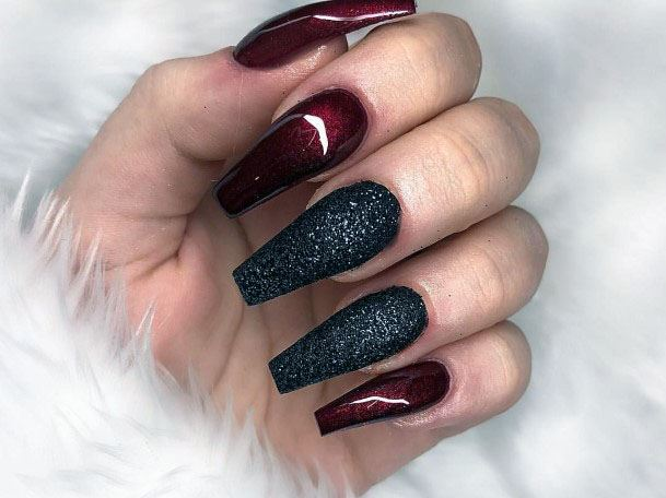Mysterious Wine Red And Black Sugar Nails For Women