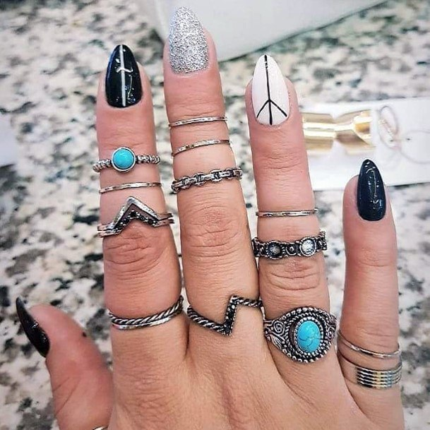 Mystery Black And White Lined Nail Art For Women