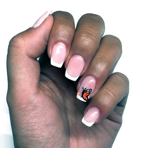 Natural Nail French Manicure Butterfly Ideas For Women