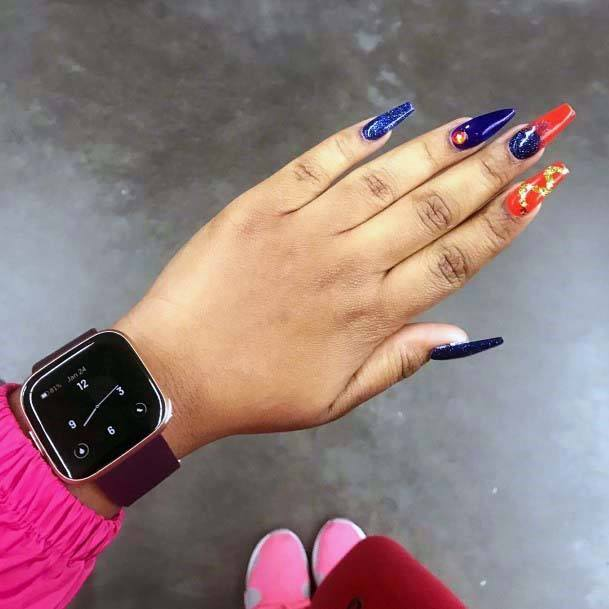 Navy Blue And Golden Orange Nails Long Art For Women