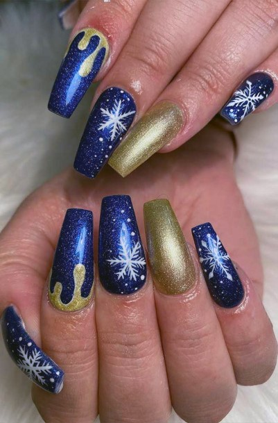 Navy Blue And Golden Snow Nails Women