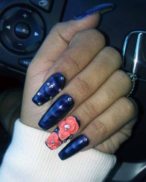 Navy Blue And Orange Flowers Nails For Women