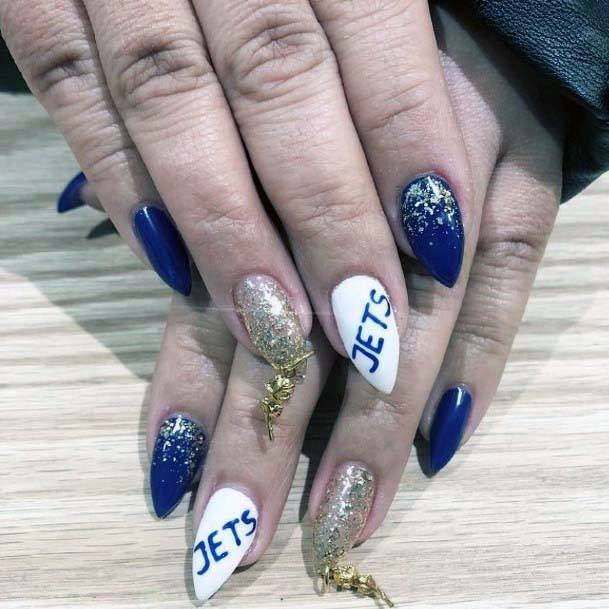 Navy Blue And White Sport Nails For Women