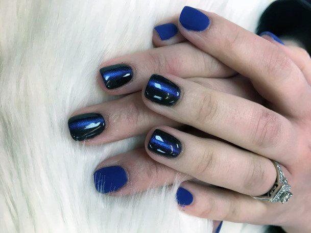 Navy Blue Cat Eye Nails