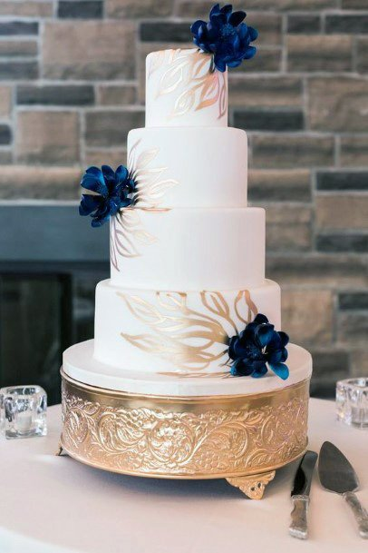 Navy Blue Flowers White And Gold Wedding Cake